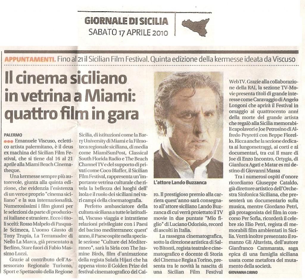 Giornale Di Sicilia 17 aprile 2010