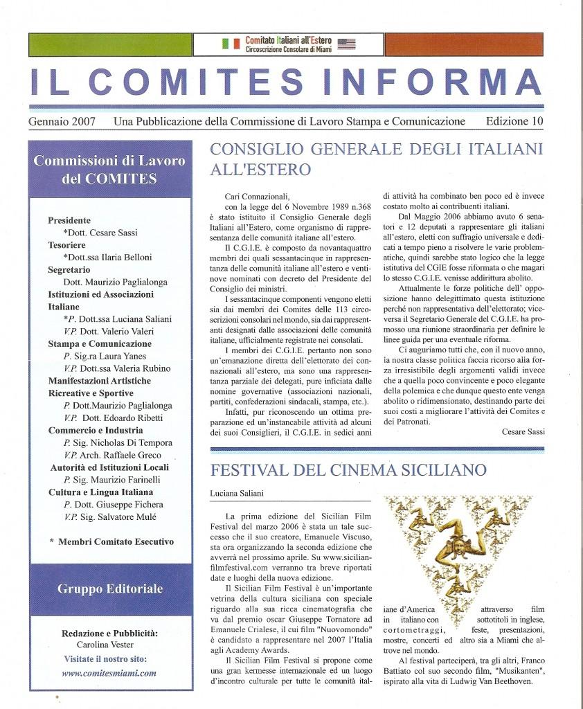 IL COMITES INFORMA Gennaio 2007