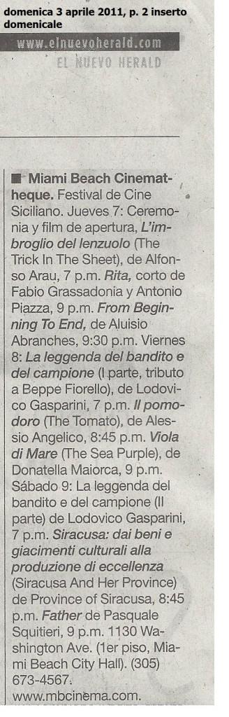 el nuevo herald, domenica 3 aprile 2011, p. 2 inserto domenicale